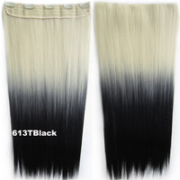 """Dip dye hairpieces New Fashion 24"""" Women Clip in on gradient wig Bath & Beauty Hair Ombre Hair Extensions Two Tone Straight hair Gradient Hair Extension Colorful Hairpieces GS-666 613T Black,1PCS"""