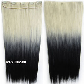"Dip dye hairpieces New Fashion 24"" Women Clip in on gradient wig Bath & Beauty Hair Ombre Hair Extensions Two Tone Straight hair Gradient Hair Extension Colorful Hairpieces GS-666 613T Black,1PCS"