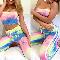 Fashionable and casual summer chest wrap and slim fit printed home wear set