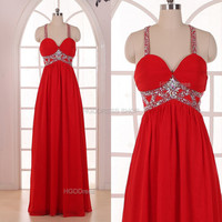 Red Bridesmaid Dress Handmade beading/Crystal Rhinestone Chiffon Prom Dress Long Prom Dress Party Dress Spaghetti Strap Formal Evening Dress
