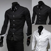 Fashion Men Slim Fit Dress Shirt with Stripe Detailed