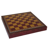 """11"""" Burgundy & Gold Pressed Leather Chest"""