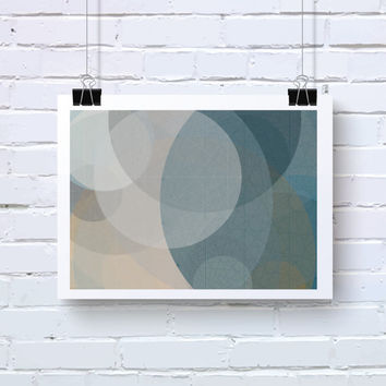 Abstract Generative Art based on Mathematics and Geometry. Mystic Rose 042_5al. Scuba blue, taupe, and dove grey wall art. Living room decor