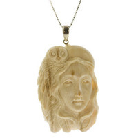Owl Totem Hand Carved Fossil Mammoth Pendant  | Whisperingtree.net