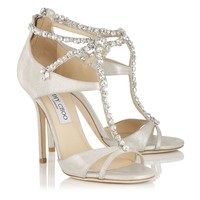 White Shimmer Leather Sandals with Crystals | Faiza | Cruise 15 Vices | JIMMY CHOO Vices