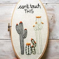 Cacti Decor. Hand Embroidery. Embroidery Hoop Art. Oval 5x9 Embroidery Hoop. Housewarming Gift. Made to Order.