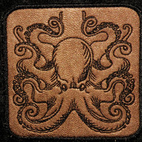 Cowhide Leather Octopus Iron on Patch