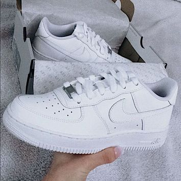 Hipgirls Nike Air Force 1 Hot Sale Couple Pure White Sneakers