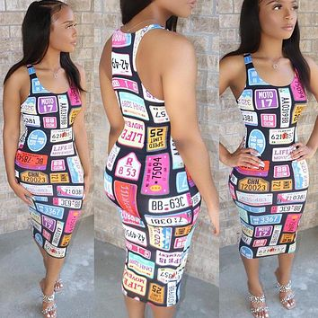 New women's sexy printed dress