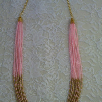 Pink and Gold Long Necklace - MultiStrand Seed Bead Necklace - Fancy in Pink Necklace