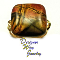 DWJ0270 Stunning Red Creek Jasper Gold Wire Wrapped Ring All Sizes