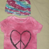 Baby Girl Gift Set -- Pink Peace-Heart Onsie and Matching Hand-dyed Hat size 6-12 months