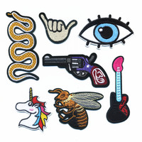 New Down pilot Jacket Delicate Fashion Embroidery Iron On Patches Beauty Snake Gun Animal Gitter Badges Motif Applique