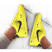 NIKE AIR FORCE 1 Popular Women Men Casual Low Help Sports Running Shoes Sneakers Yellow