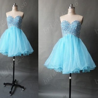 Beads Crystals Light Sky Blue Sweetheart Strapless Short Ruffled Bridesmaid Dress,MIni Tulle Ball Gown Evening Party Cocktail Prom Dress