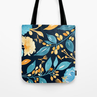 Teal and Golden Floral Tote Bag by noondaydesign