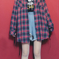 Long baggy blue tartan Harajuku shirt dress