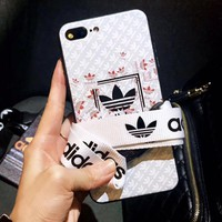 Adidas Fashion new more print couple protective cover phone case White