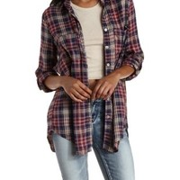 Dark Red Combo Flyaway Plaid Button-Up Tunic Top by Charlotte Russe