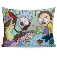 Tiny Rick and Morty Telephone Game Pillow Case