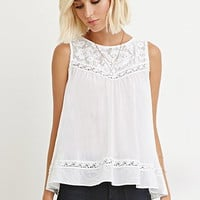 Crochet-Paneled Tulip-Back Top