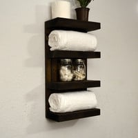 Bathroom Towel Rack 4 Tier Bath Storage Floating Shelf Hotel Style Dark Walnut