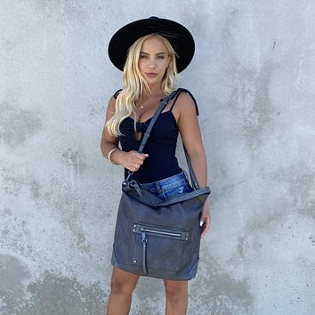 Cayson Stud Vegan Leather Tote Bag in Grey