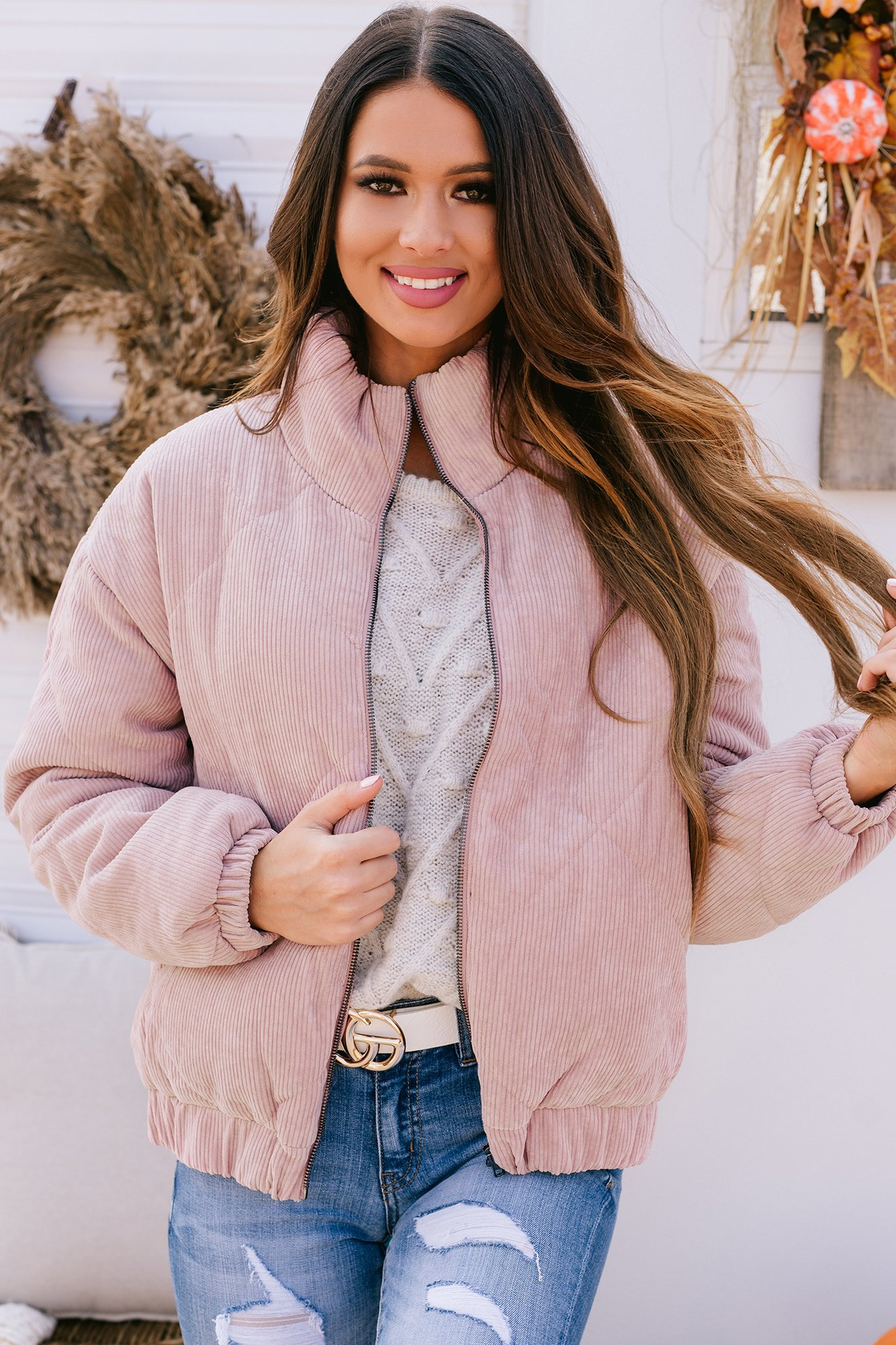 Image of Street Smarts Quilted Bomber Jacket (Dusty Pink)
