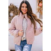 Street Smarts Quilted Bomber Jacket (Dusty Pink)