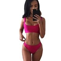 Sexy swimwear women Bikini Set Solid Color O-Neck Sleeveless Bathing Suit Swimwear Swimsuits Two Piece