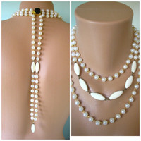 Bridal Backdrop Necklace, Back Necklace, Pearl Backdrop, Bridal Backlace, Wedding Jewelry, Upcycled Jewelry, Great Gatsby, White Pearls