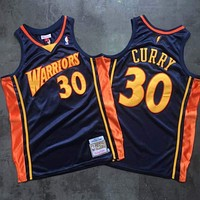 2009-10 Mitchell & Ness Warrior 30 Curry Black Basketball Jersey