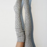 Salt N Pepper Marled Cable Knit Thigh High Socks, OTK Thigh Highs, Stockings, PM-088S