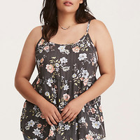 Floral Print Crossback Tiered Cami