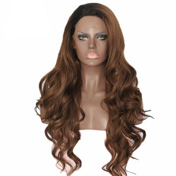 Nida- Black Ombre Brown Color Heat Resistant Hand Tied Cosplay Synthetic Lace Front Wig