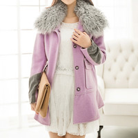 Purple Fur Collar Wool Coat