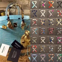 24 color multifunction brand luxury woman scarves small scarf Twilly  bandage fashion bag for Lady handbag straps for headbang