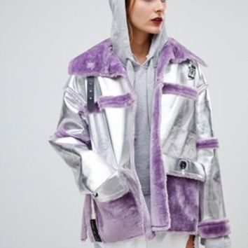 Story Of Lola PU Aviator Jacket With Contrast Faux Fur Trim at asos.com