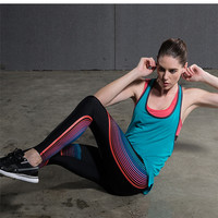 Yoga Compression Pants Elastic Tights Female Exercise Sports Fitness Jogging Jogger Running Trousers Gym Slim Leggings