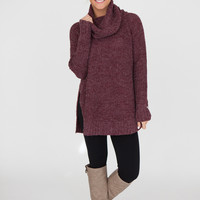 Cowl Neck Side Slit Sweater - Plum
