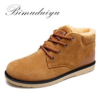 BIMUDUIYU Brand Cheap Keep Warm Men Winter Ankle Boots Light /Comfortable Fluff And Cotton Shoes Fashion Casual Essential Boots