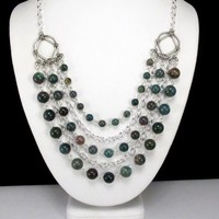 Necklace with Indian Bloodstone and Silver Chains