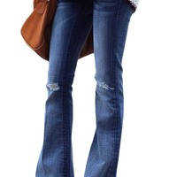 Womens Ripped Knee Detail Blue Flared Jeans