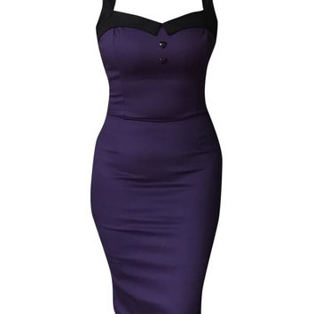 Switchblade Stiletto Women's Heart Button Darling Dress - Purple