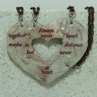 Heart Necklaces set of 4 Break Apart Best Friend Bridesmaid Friendship Jewelry Heart Puzzle Necklace Set Polymer Clay