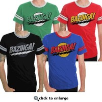 The Big Bang Theory Bazinga! Adult T-shirt with Stripes - The Big Bang Theory - Free Shipping on orders over $60   TV Store Online