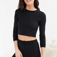 Out From Under Cropped Thermal Long Sleeve Top - Urban Outfitters