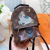 LV Louis Vuitton Fashion Women Mini Leather Daypack Backpack Bookbag
