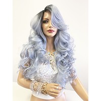 "Blue Gray Silver Ombré SWISS Lace Front Wig 22"" with deep ""c"" parting 619"