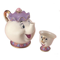 New Coffee Pot Mug Beauty and the Beast Tea Set La Bella Y La Bestia Mrs Potts and Chip Porcelana Kettle